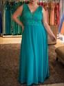 Simple Teal V Neck Sleeveless Floor Length Chiffon Plus Size Dress