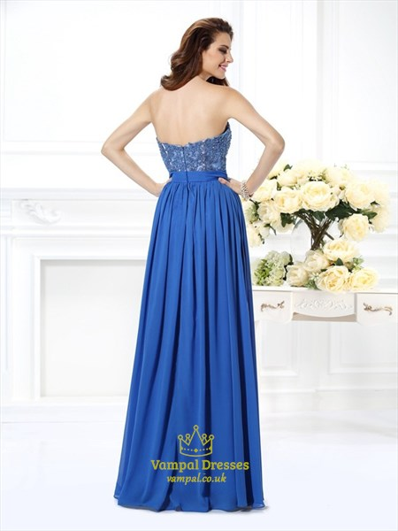 Sweetheart Sleeveless Applique Pleated Chiffon A Line Long Prom Dress