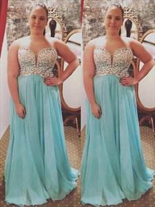 A Line Light Blue Sweetheart Beaded Chiffon Plus Size Prom Dresses