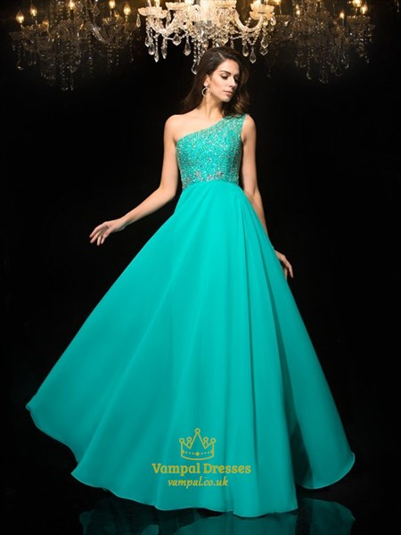 Turquoise One Shoulder Beaded Floor Length Chiffon Prom Dress