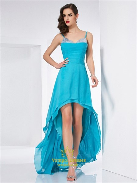 Spaghetti Strap Sleeveless Ruched High Low Prom Dress With Sequin