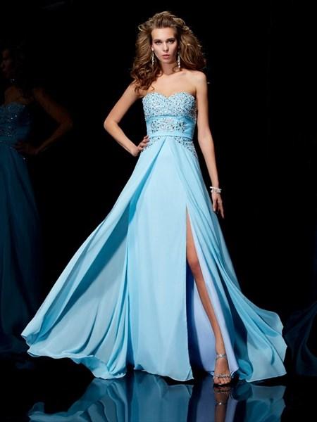 Light Blue Sweetheart Neckline Beaded Chiffon Prom Dress With Split