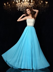 Strapless Sleeveless Beaded Bodice Pleated Chiffon Long Prom Dress