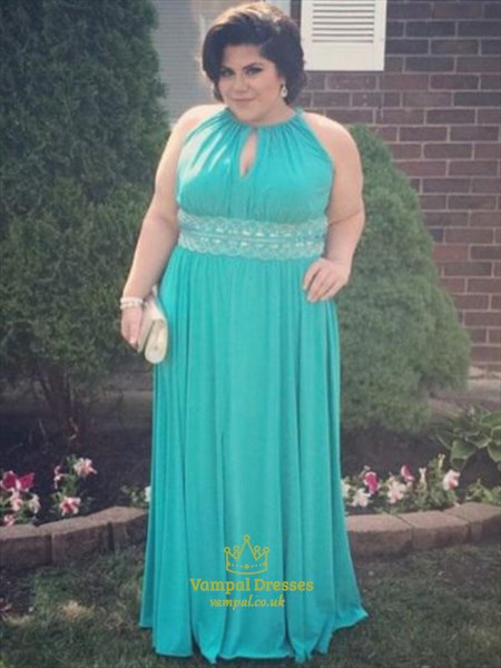 Halter Neck Keyhole Plus Size Chiffon Prom Dress With Beaded Waist