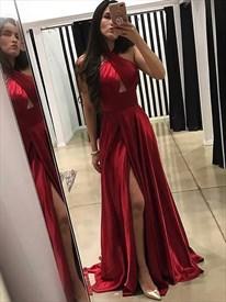 Burgundy Sleeveless Cross Neck Keyhole Satin Prom Dress With Slits