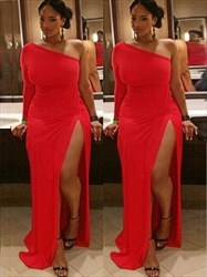 Red One Shoulder One Sleeve Sheath Plus Size Prom Dress With Split