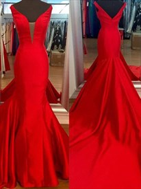 V Neck Sleeveless Satin Mermaid Floor Length Prom Dress With Train