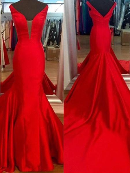 V Neck Sleeveless Satin Mermaid Floor Length Prom Dress With Train