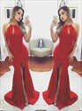 Red Halter Neck Keyhole Open Back Satin Prom Dress With Split