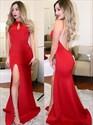 Red Halter Neck Keyhole Open Back Satin Prom Dress With Split