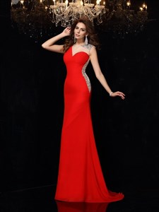 Sleeveless Illusion Neck Beaded Sheath Floor Length Prom Dress