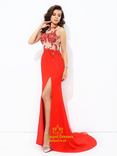 High Neck Illusion Back Beading Applique Long Prom Dress With Split