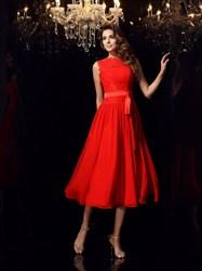 A-Line High Neck Applique Pleated Tea Length Prom Dress With Sash