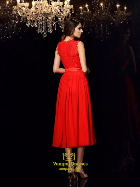 A-Line High Neck Applique Pleated Tea Length Prom Dress With Sash