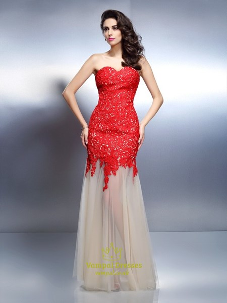 Red Sweetheart Sleeveless Lace Applique Sheath Chiffon Prom Dress