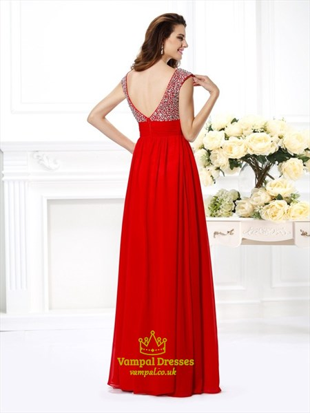 A Line V Neck Beaded Pleated Floor Length Chiffon Prom Dress