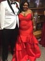 Sweetheart Neckline Satin Mermaid Plus Size Prom Dress With Ruffles