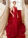 Bateau Sleeveless Sheer Sides Mermaid Long Prom Dress With Long Train