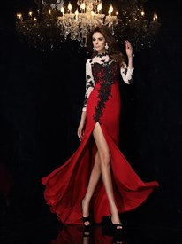 Red High Neck Long Sleeve Black Lace Applique Prom Dress With Split