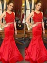 Jewel Neck Sleeveless Lace Top Satin Mermaid Two Piece Prom Dress