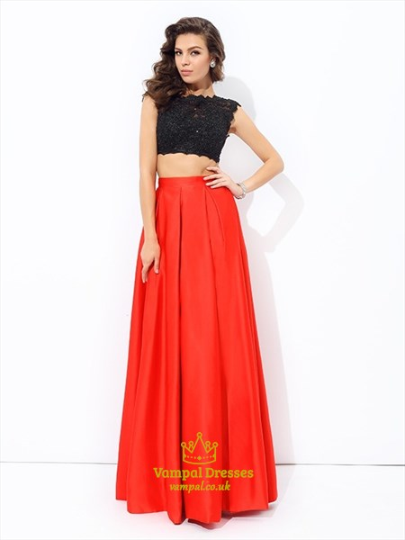 A Line High Neck Beading Black Top Red Bottom Two Piece Prom Dress