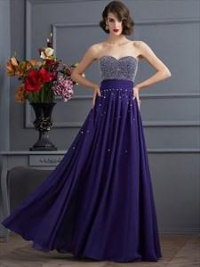 Sweetheart Neckline Beaded Bodice Ruched Waist Chiffon Prom Dress