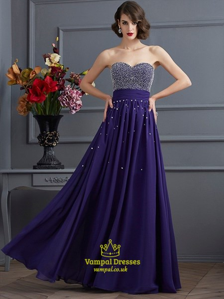 Sweetheart Neckline Beaded Bodice Ruched Waist Chiffon Prom Dress