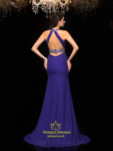 Deep V Neck Sleeveless Keyhole Beaded Sheath Chiffon Prom Dress