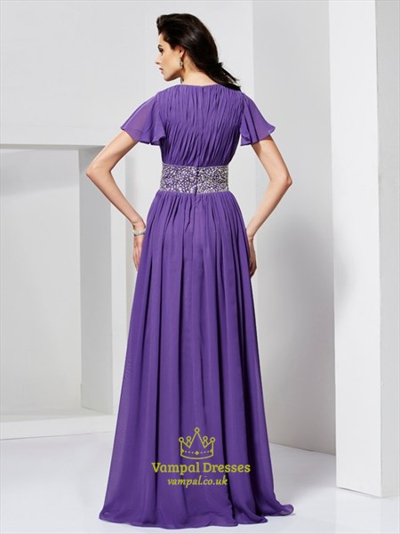 A Line V Neck Flutter Sleeve Beaded Ruched Back Chiffon Prom Dress