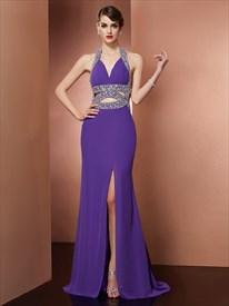 Elegant Halter Neck Sleeveless Beaded Backless Prom Dress With Split