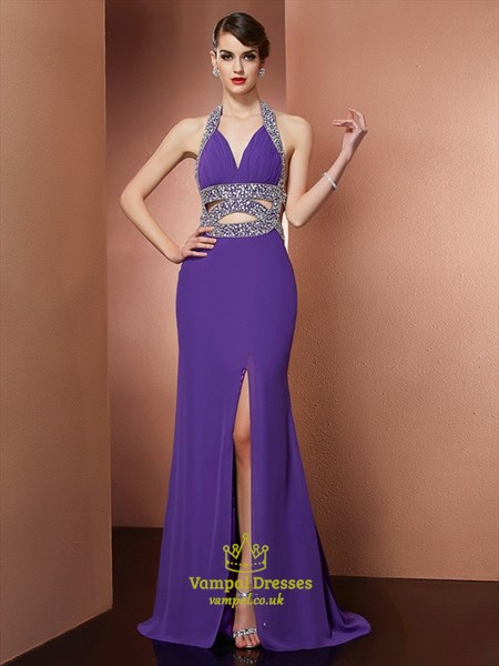 Elegant Halter Neck Sleeveless Beaded Backless Prom Dress With Split