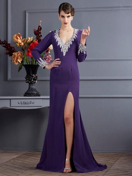 V Neck Long Sleeve Beaded Keyhole Back Chiffon Prom Dress With Split