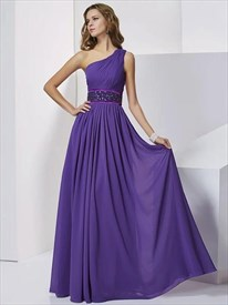 A Line One Shoulder Beaded Pleated Chiffon Floor Length Prom Dress