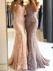 Blush Pink Spaghetti Strap Sleeveless Applique Sheath Prom Dress