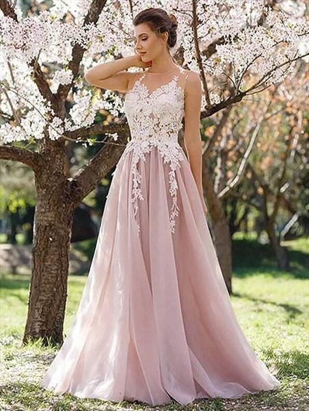 Princess A Line Blush Pink Jewel Neckline Applique Tulle Prom Dress