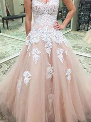 Sweetheart Sleeveless Beading Applique Ball Gown Tulle Prom Dress