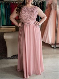 Pink Bateau Sleeveless Beading Applique Chiffon Plus Size Prom Dress