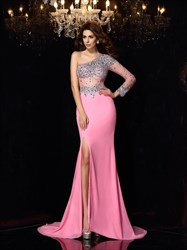 Elegant Hot Pink One Shoulder One Sleeve Beaded Prom Dress With Split