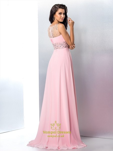 Jewel Neck Sleeveless Crystal Beaded Chiffon Prom Dress With Split