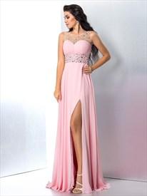 Jewel Neck Sleeveless Crystal Beaded Chiffon Prom Dress With Split