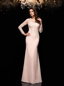 Blush Pink Jewel Neck Long Sleeve Beaded Applique Sheath Prom Dress