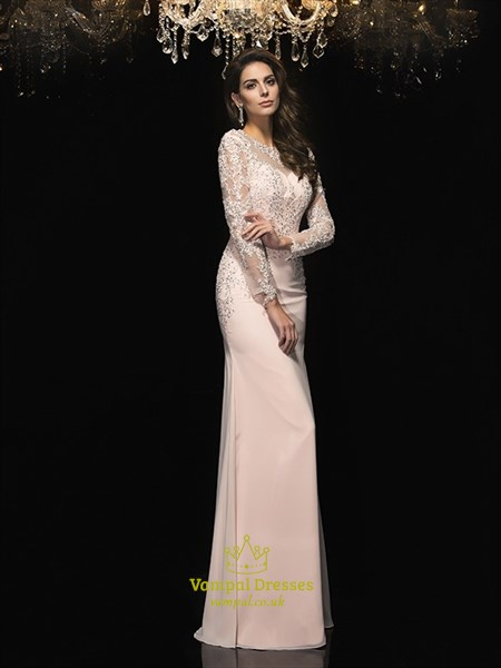Blush Pink Jewel Neck Long Sleeve Beaded Applique Sheath Prom Dress
