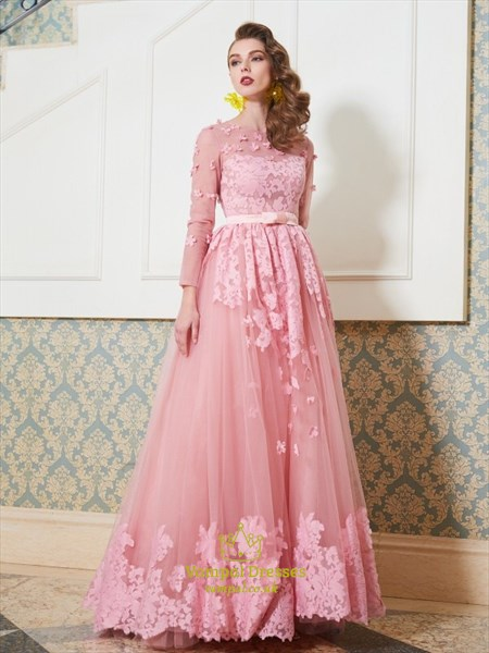Princess High Neck Long Sleeve Applique Tulle Prom Dress With Bow