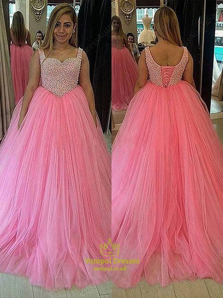 Pink Square Neck Sleeveless Beaded Bodice Ball Gown Tulle Prom Dress