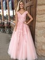 A Line Pink V Neck Cap Sleeve Beading Applique Tulle Prom Dress
