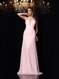 Jewel Neck Sleeveless Beaded Illusion Back Chiffon Long Prom Dress