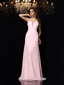 Jewel Neck Sleeveless Beaded Illusion Back Chiffon Long Prom Dress