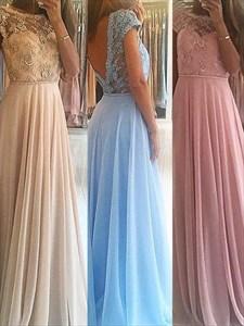 Pink Jewel Neck Short Sleeve Beading Applique Floor Length Prom Dress