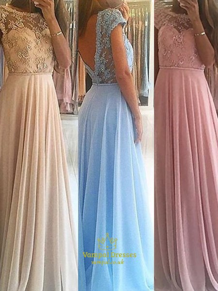Pink Jewel Neck Short Sleeve Beading Applique Floor Length Prom Dress