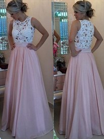 Simple A Line Sleeveless White Lace Top Pink Satin Bottom Prom Dress